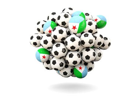 djibouti: Pile of footballs with flag of djibouti. 3D illustration Stock Photo