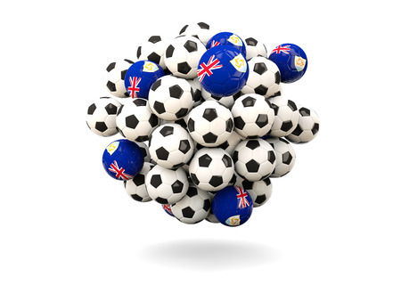 anguilla: Pile of footballs with flag of anguilla. 3D illustration