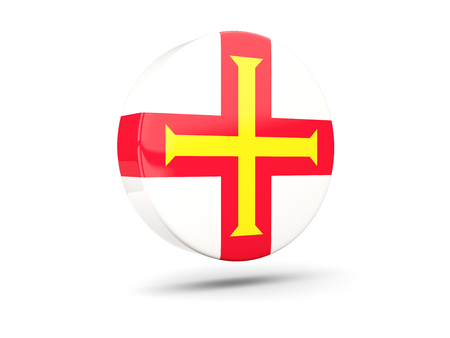 guernsey: Round icon with flag of guernsey. 3D illustration