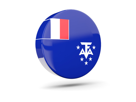 flag french icon: Round icon with flag of french southern territories. 3D illustration