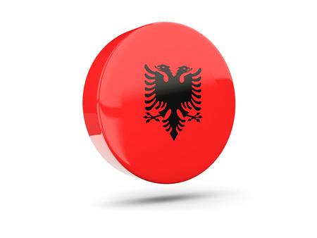 albania: Round icon with flag of albania. 3D illustration