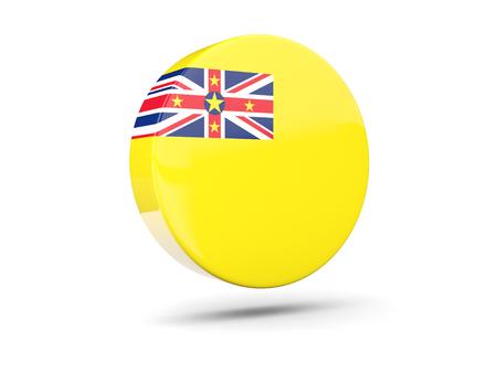 niue: Round icon with flag of niue. 3D illustration Stock Photo