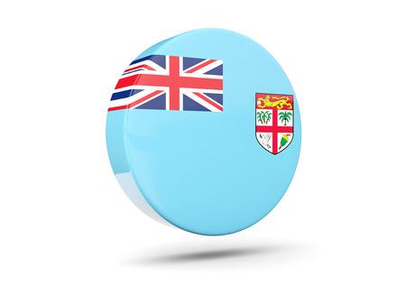 fiji: Round icon with flag of fiji. 3D illustration