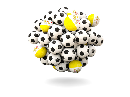 vatican city: Pile of footballs with flag of vatican city. 3D illustration Stock Photo