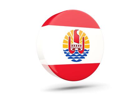 flag french icon: Round icon with flag of french polynesia. 3D illustration