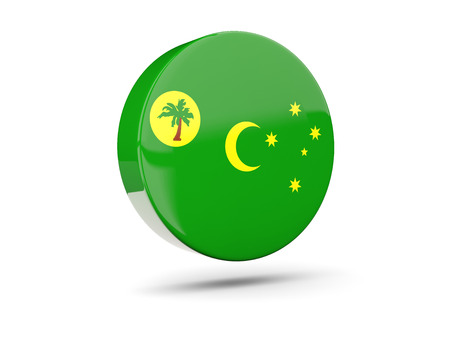cocos: Round icon with flag of cocos islands. 3D illustration Stock Photo