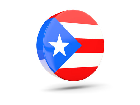rico: Round icon with flag of puerto rico. 3D illustration