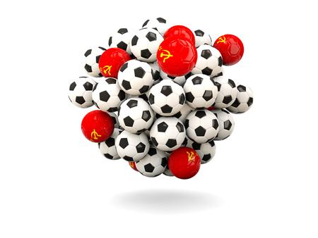 ussr: Pile of footballs with flag of ussr. 3D illustration