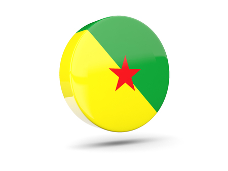 french guiana: Round icon with flag of french guiana. 3D illustration