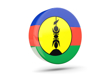 new caledonia: Round icon with flag of new caledonia. 3D illustration