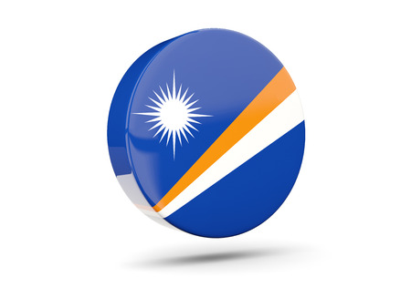 marshall: Round icon with flag of marshall islands. 3D illustration Stock Photo
