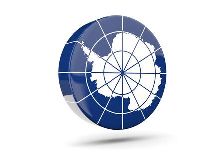 antarctica: Round icon with flag of antarctica. 3D illustration
