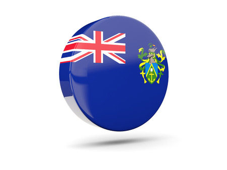 pitcairn: Round icon with flag of pitcairn islands. 3D illustration