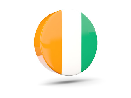 cote ivoire: Round icon with flag of cote d Ivoire. 3D illustration