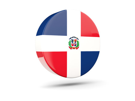 dominican: Round icon with flag of dominican republic. 3D illustration