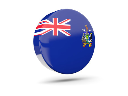 south georgia: Round icon with flag of south georgia and the south sandwich islands. 3D illustration