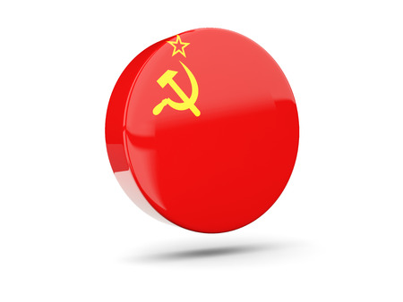 ussr: Round icon with flag of ussr. 3D illustration