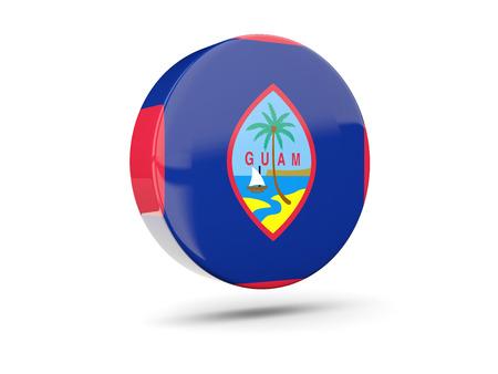 guam: Round icon with flag of guam. 3D illustration Stock Photo