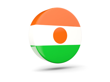 niger: Round icon with flag of niger. 3D illustration Stock Photo