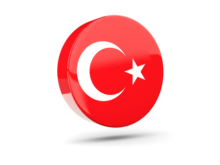 3d turkey: Round icon with flag of turkey. 3D illustration
