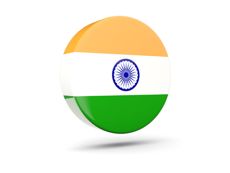 india 3d: Round icon with flag of india. 3D illustration