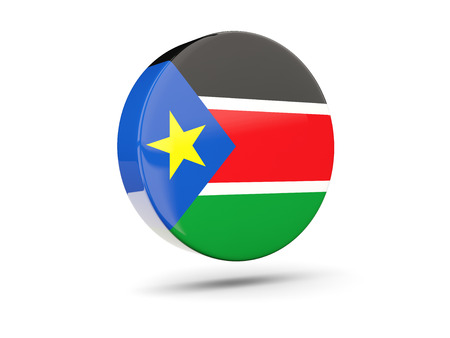 south sudan: Round icon with flag of south sudan. 3D illustration Stock Photo