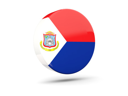 sint: Round icon with flag of sint maarten. 3D illustration Stock Photo