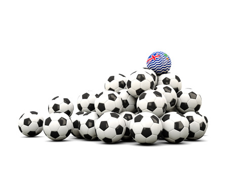 winning location: Pile of soccer balls with flag of british indian ocean territory. 3D illustration