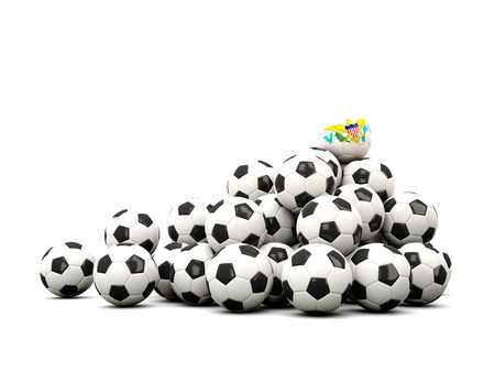winning location: Pile of soccer balls with flag of virgin islands us. 3D illustration