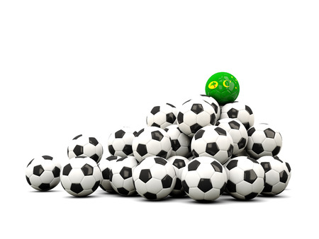 Pile of soccer balls with flag of cocos islands. 3D illustration Stock Photo