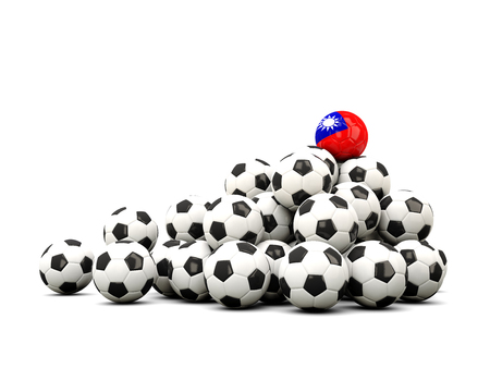 winning location: Pile of soccer balls with flag of republic of china. 3D illustration