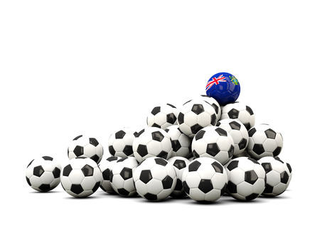 pitcairn: Pile of soccer balls with flag of pitcairn islands. 3D illustration Stock Photo