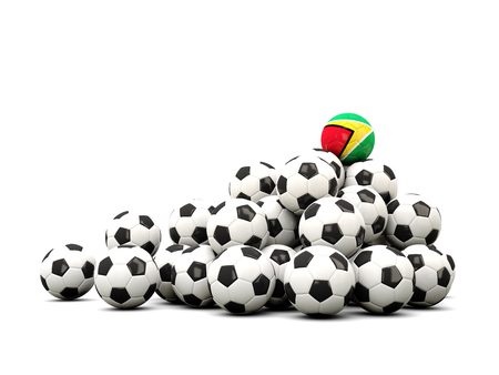 winning location: Pile of soccer balls with flag of guyana. 3D illustration Stock Photo