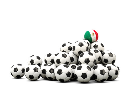 winning location: Pile of soccer balls with flag of mexico. 3D illustration Stock Photo