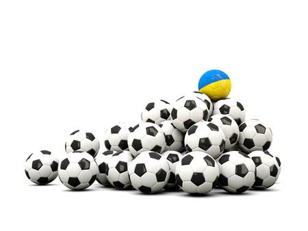 winning location: Pile of soccer balls with flag of ukraine. 3D illustration