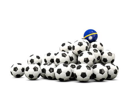 nauru: Pile of soccer balls with flag of nauru. 3D illustration