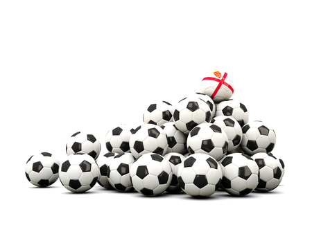 winning location: Pile of soccer balls with flag of jersey. 3D illustration