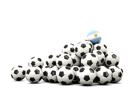 winning location: Pile of soccer balls with flag of argentina. 3D illustration