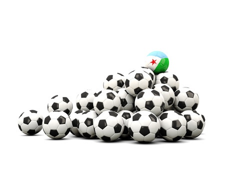 winning location: Pile of soccer balls with flag of djibouti. 3D illustration