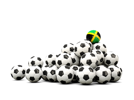 winning location: Pile of soccer balls with flag of jamaica. 3D illustration