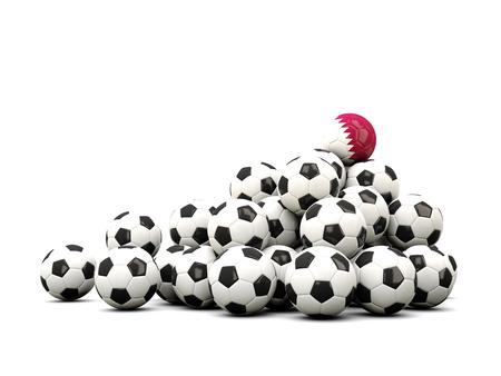 winning location: Pile of soccer balls with flag of qatar. 3D illustration