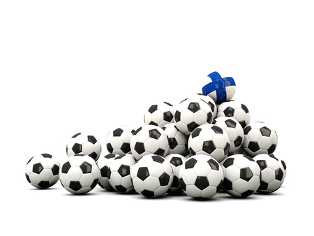 winning location: Pile of soccer balls with flag of finland. 3D illustration