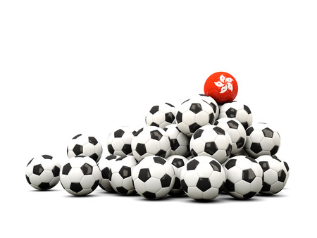 winning location: Pile of soccer balls with flag of hong kong. 3D illustration