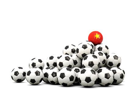 winning location: Pile of soccer balls with flag of vietnam. 3D illustration