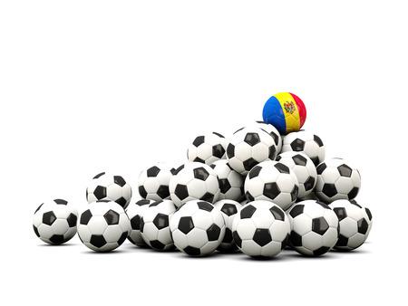 winning location: Pile of soccer balls with flag of moldova. 3D illustration