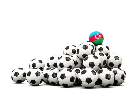 winning location: Pile of soccer balls with flag of azerbaijan. 3D illustration