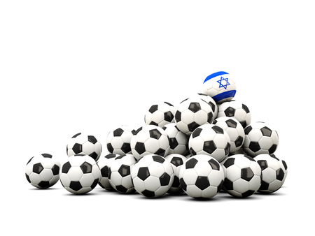 winning location: Pile of soccer balls with flag of israel. 3D illustration Stock Photo