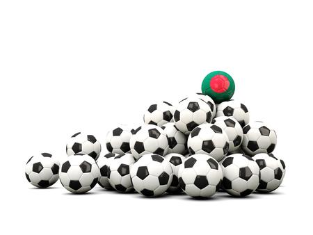 winning location: Pile of soccer balls with flag of bangladesh. 3D illustration
