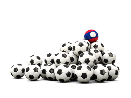 winning location: Pile of soccer balls with flag of laos. 3D illustration