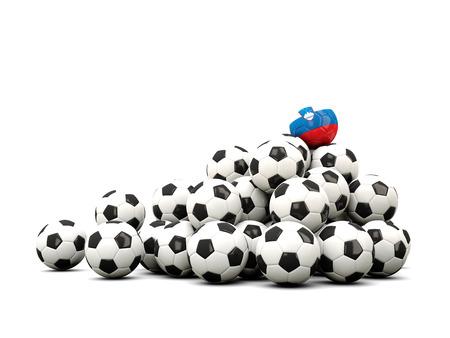 winning location: Pile of soccer balls with flag of slovenia. 3D illustration